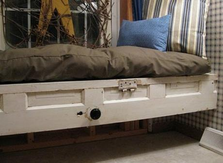 Door Repurposed Into a Bed Frame