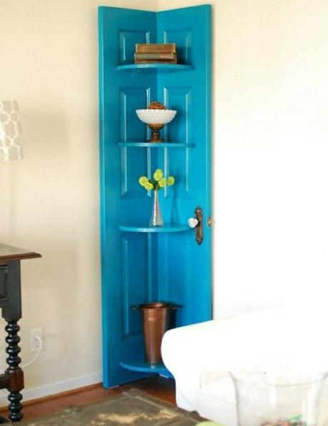 Door Repurposed Into a Shelf Display Stand