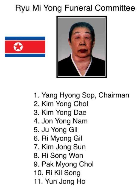Ryu Mi Yong's Funeral Committee (Photo: NK Leadership Watch/Rodong Sinmun).