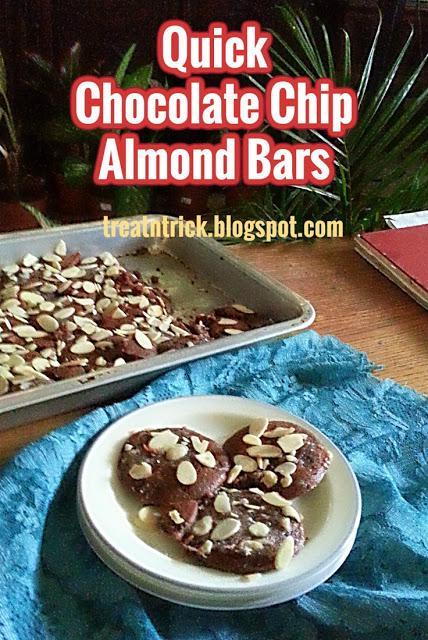 Quick Chocolate Chip Almond Bars Recipe @ treatntrick.blogspot.com