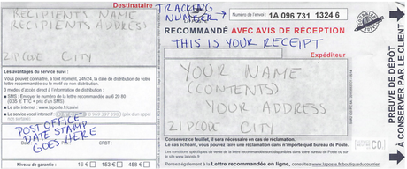 how to send a registered letter in france