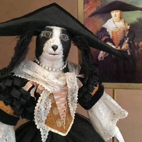 Dog Paper Sculpture with Black Hat by Patty Grazini