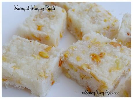Nariyal Magaz Katli is a very popular Indian sweet dishes, generally prepared for Laddu Gopal (Lord Krishna) on the occasion of Janmashtami. Paag, Paak,Recipes, Indian Cuisine, Festivals N Occasions, Vrat Recipes, janmashtami, chikki, Homemade, coconut recipes, melon recipes,