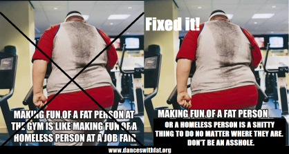 Original pictures is a fat person on a machine at the gym, photographed from behind with the caption