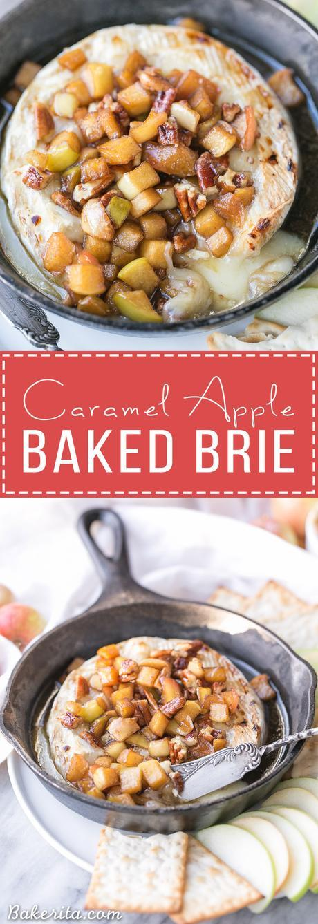 Caramel Apple Baked Brie is a gooey, scrumptious appetizer that's perfect for holiday entertaining! This easy recipe has a caramel apple topping piled on top of wheel of melted brie. It only has 5 ingredients and takes 20 minutes from start to finish.