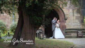 secret high five captured on wedding video outside the church