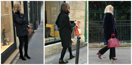 Paris style: dark neutrals with colorful bag