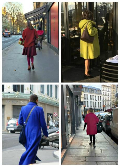colorful coats on the streets of Paris