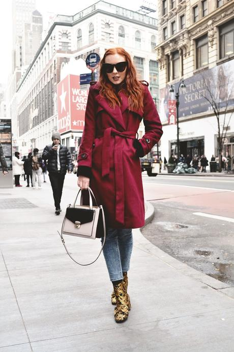 Burgundy belted jacket from Dressystar.com