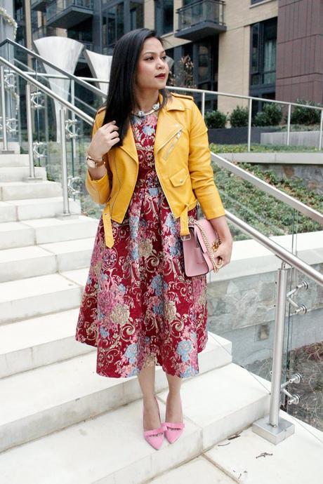zara leather jacket, pink bow pumps, dressy style, vintage dress, gucci pink bag