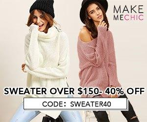 Sweater Sale! Save 40% on Sweater purchases over $150 with couponcode SWEATER40 at MakeMeChic.com. Sale ends October 6th