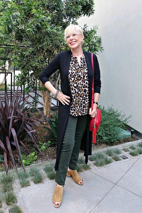 leopard print with olive, red bag