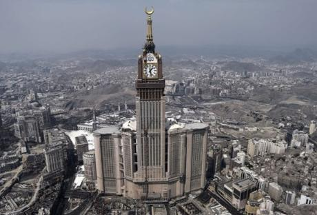 Abraj Al Bait Towers clock in Mecca, Saudi Arabia