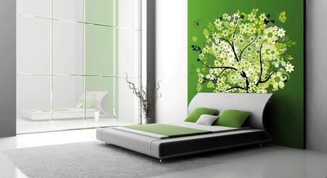 Green wall decal with a tree in a bedroom