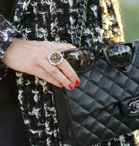 Chanel caviar flap, French Kande ring