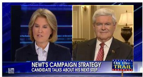 Former House speaker Newt Gingrich told Fox News' Greta Van Susteren on Wednesday night that he had no intention of altering his strategy. Photo: Fox News.