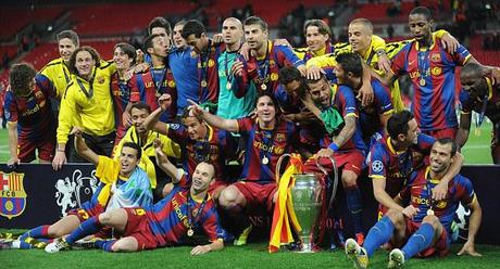 Team to beat: Barcelona are defending the trophy they won against Manchester United last season