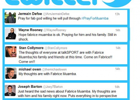 Pray for Muamba: Player and fan reaction to footballer's cardiac arrest called into question