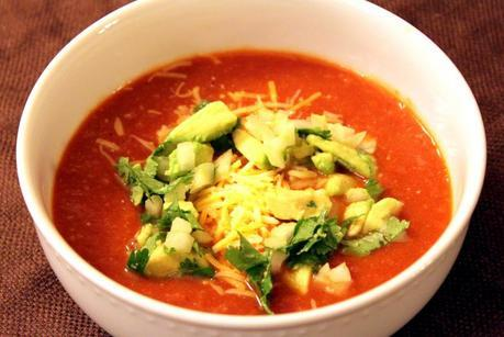 Vegetarian Tortilla Soup with Creative Toppings