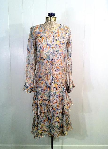 Unique 1920s Print Dress