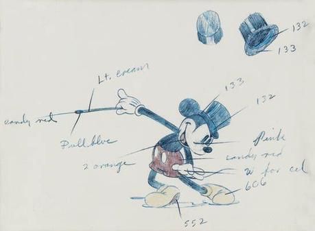 1936 Disney original animation art on auction @SwannGalleries Mickey, Pinocchio, Lampwick