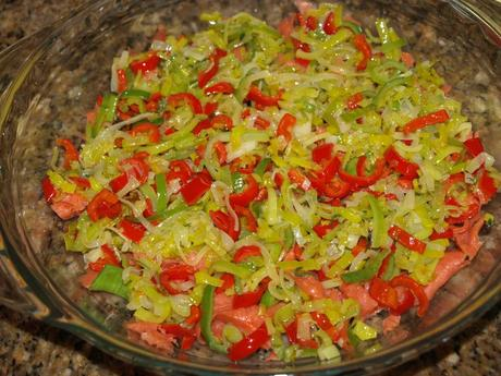Crustless Smoked Salmon, Leek and Red Peppers