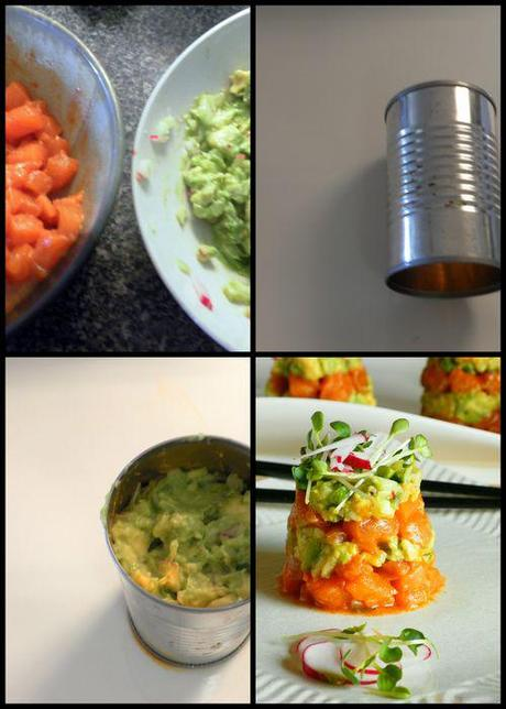 Salmon Ceviche tower assembly collage