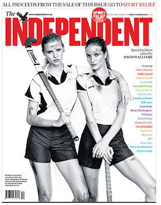 Lara Stone and Rose Huntington Whitely cover today's Independent