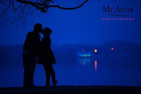Romantic twilight engagement shoot