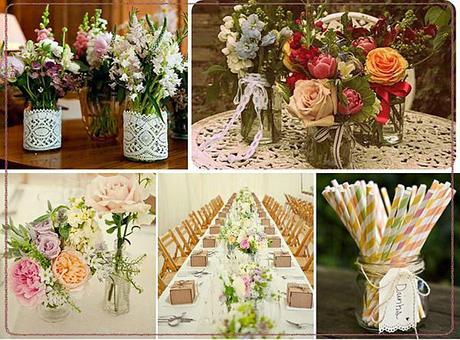 Wedding reception ideas with jam jars via rock my wedding blog