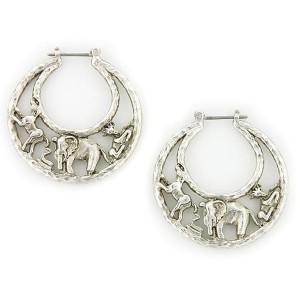 wildlife animals crescent hoop earrings