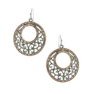 crescent hoop mixed metal earrings
