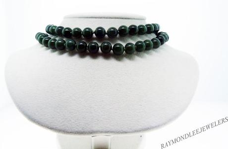Double Strand Jade Bead Necklace with Decorative Jumbo Lobster Claw Clasp