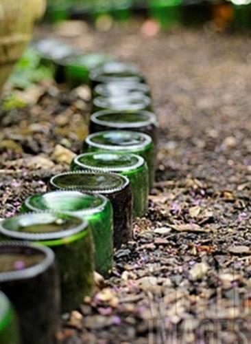 Garden Border Made from a Champagne Bottle