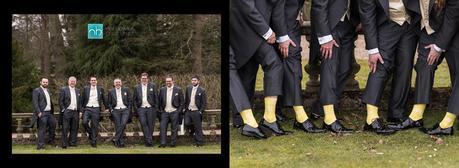 groom and ushers posing for wedding photo