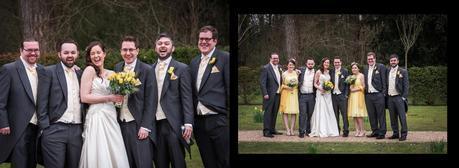 bridal party posing for formal wedding photos
