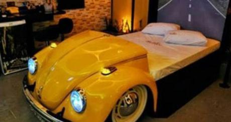 Repurposed Volkswagen Beetle Made into a Bed