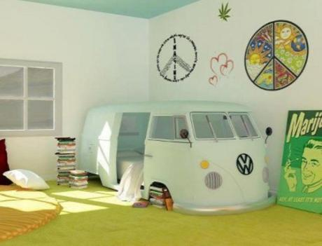 Repurposed VW Camper Van Made into a Bed