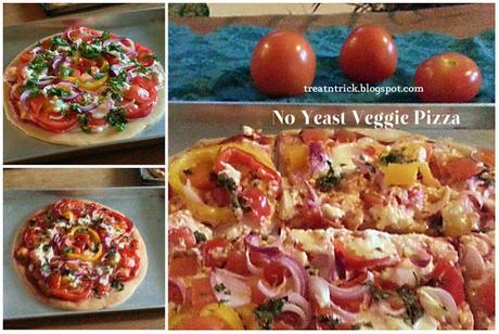 No Yeast Veggie Pizza Recipe @ treatntrick.blogspot.com