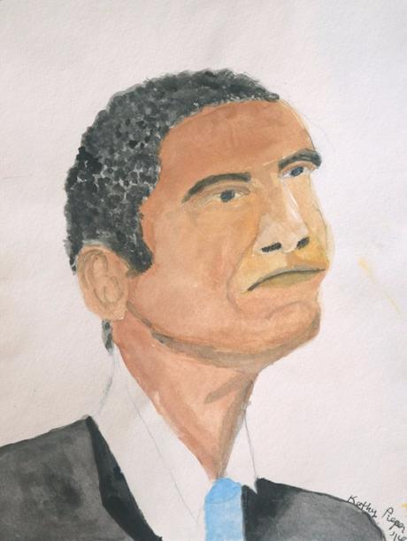 Watercolor Portrait of Barack Obama