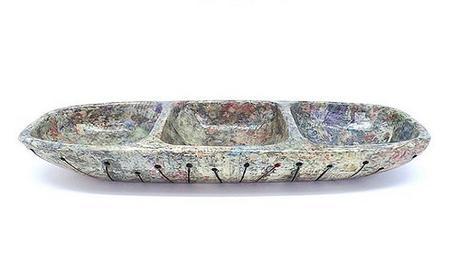 Carved Wood and Newspaper 3 Dip Dish - Dani Crompton Designs
