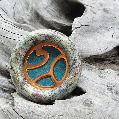 Circular Brooch in Paper, Copper and Wood - Dani Crompton Designs