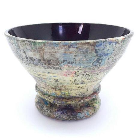 Decorative Black Glass and Newspaper Vessel - Dani Crompton Designs