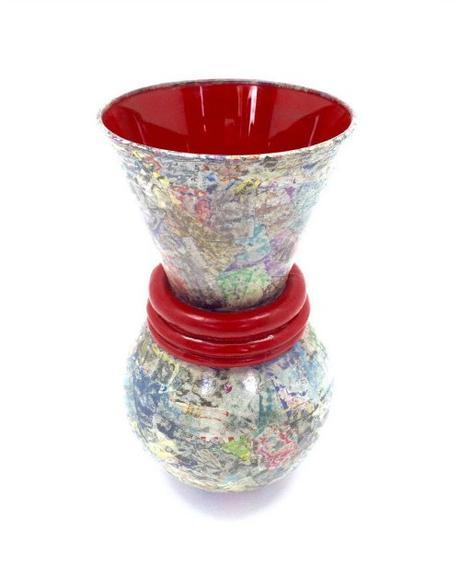 Decorative Glass, Wood and Paper Vase - Dani Crompton Designs