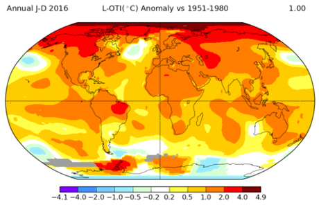 NASA Data Shows the Rate of Global Warming is Accelerating — 2016 is Third Consecutive Hottest Year on Record