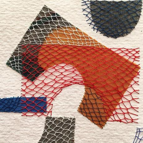 Layered Stitching over Fabric on Paper by Karin Lundström