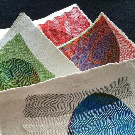 Colorful Stitching on Paper by Karin Lundström
