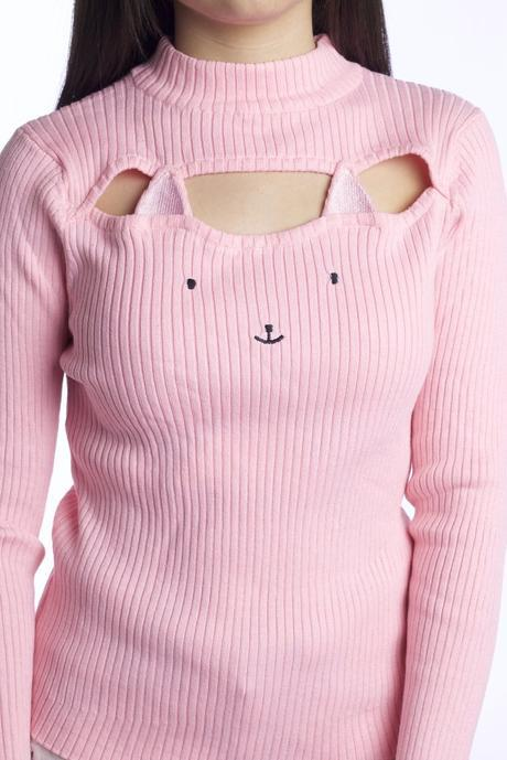 933b078543 KAWAII HOLLOW CHEST KITTY CAT KEYHOLE SWEATER Cat Fashion This cute and sexy  ...