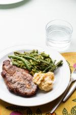 Oven-Grilled Pork Shoulder Chops with Green Beans and Avocado