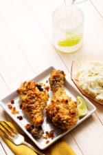 Crispy Jerk Chicken Drumsticks with Coleslaw